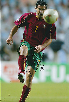 Luis Luís FIGO SIGNED Autograph 12x8 Photo AFTAL COA Portugal Football Legend