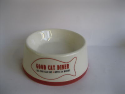 Good Cat Diner Cream/Red Feeding Bowl Style 81-3157