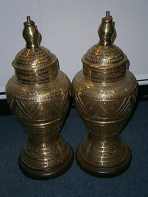 Vintage Antique Pair Ethnic Philippine Gador Islamic Urns Mindanao Marano People