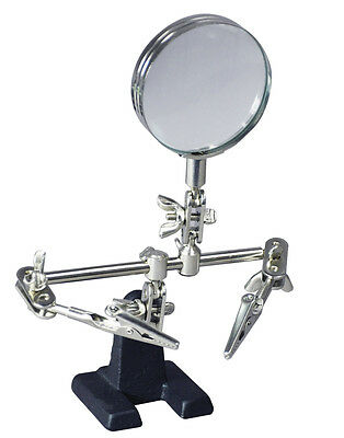 Soldering Iron Stand Helping Hands Magnifying Glass Magnifier Crocodile Clip #AA