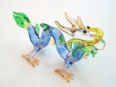 Fantasy Collectible MINIATURE HAND BLOWN GLASS Blue Dragon FIGURINE