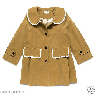 Girls Corduroy Golden Beige, Lace Trimming Fully Lined  Jacket. 2,3,4,5,6 Years