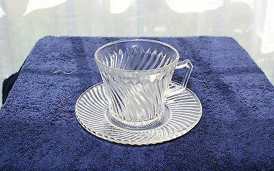 FEDERAL GLASS COMPANY CRYSTAL DIANA CUP AND SAUCER SET