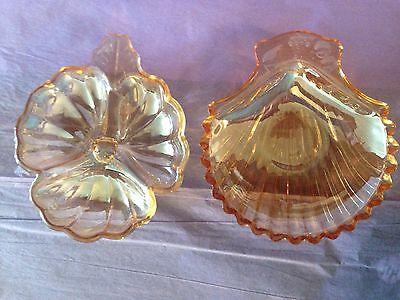 Antique Gold Shiny Glass Candy Dishes Flower And Seashell Design Eleganr