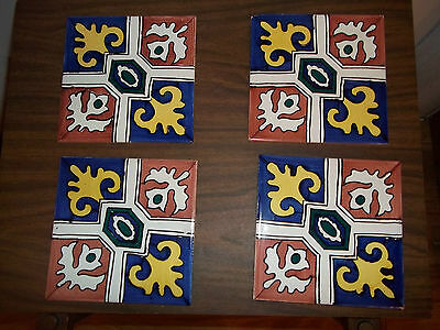 VINTAGE CEDOLESA TILES FROM SPAIN REGAL ETHNIC DESIGN SET OF 4 BLUE YELLOW BROWN