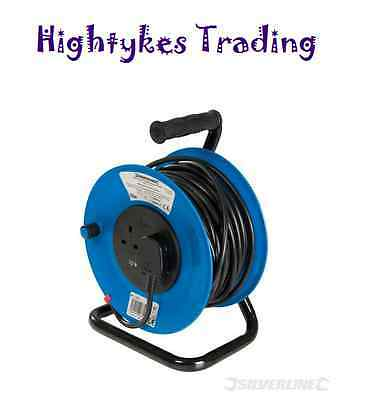 Electric 25M MAINS POWER EXTENSION CABLE REEL 240V FREESTANDING 13A 4 SOCKET