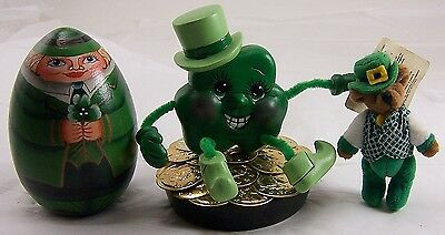 Russ Tiny Teddy Bear,Four Leaf Clover Pot of Gold Coins St. Patrick's Day Figure
