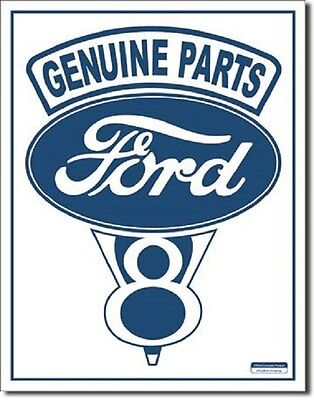 """12 1/2"""" X 16"""" Tin Sign Ford Genuine Parts V-8 Metal Sign New"""