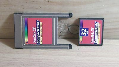 32MB SanDisk CF Compact Flash Memory Card & PC Card PCMCIA Adapter