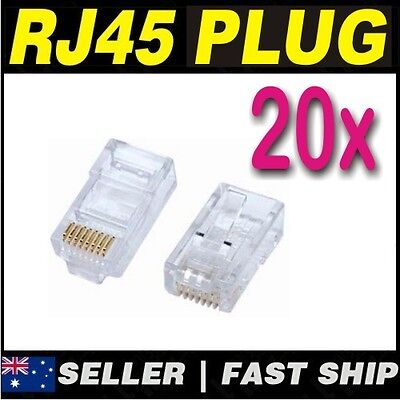 20 x Clear RJ45 CAT5 CAT5E CAT6 Modular Plug Network Connector Broadband ADSL 2
