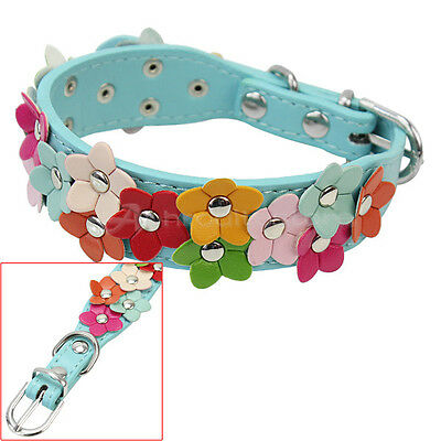 Cute Dog Pet Puppy Flower Safety Collar Metal Buckle Faux Leather Adjustable