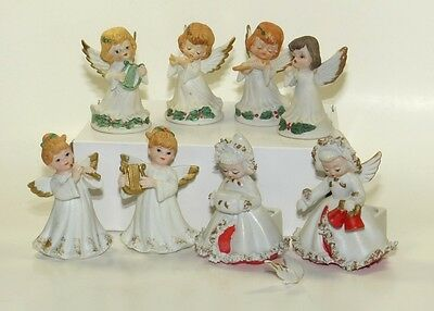Lot of 8 Angel Figurines Lefton, Spaghetti Trim, Playing Instruments