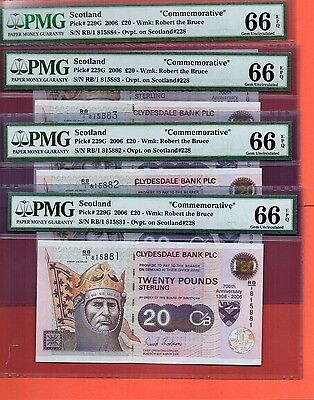 4X SCOTLAND £20 CLYDESDALE BANK ROBERT THE BRUCE 700th ANN PMG66 EPQ consecutive