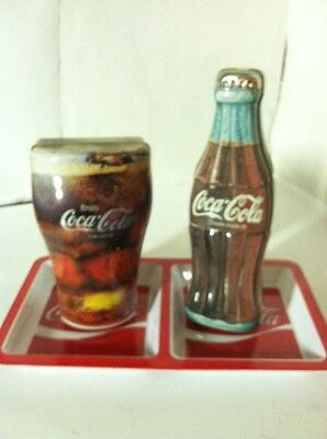 Coca-Cola 1996 Tin Coke Bottle And Glass With Tray Set Very Good To Excell