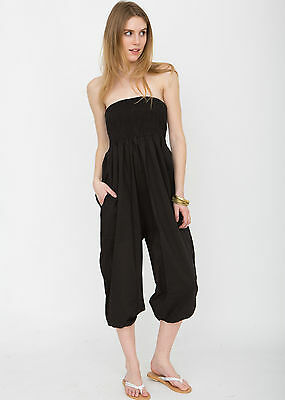 Black Harem 2 in 1 Cotton Trouser and Jumpsuit Romper Ali Baba Genie Pants