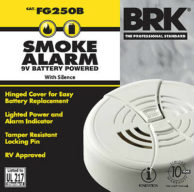 2 Pk BRK First Alert Smoke Detector And Alarm 9V Battery Operated FG250B