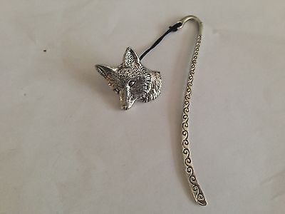 A6 Fox Head 1  Pattern bookmark with cord 3D English pewter charm