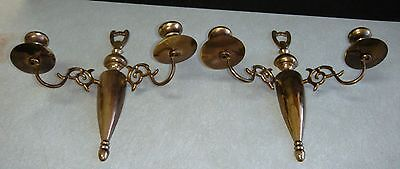 Vintage PAIR of  EB Signed Brass Wall Scones Double Candle Holder Nice and Heav