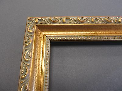 Antique Gold w Cream Wash and Beads Custom-Made Wood Picture Frame (#10051)