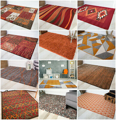 New Orange Colourful Mats Modern Non Shed Big Small Carpets Clearance Cheap Rugs