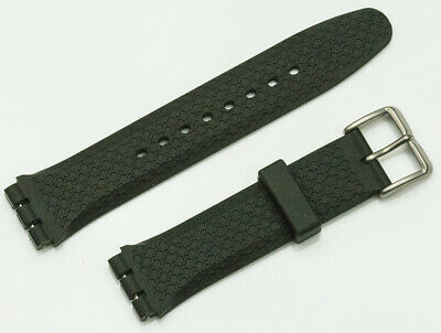 Strap for Swatch watch black heavy resin rubber 20mm straps replacement repairs