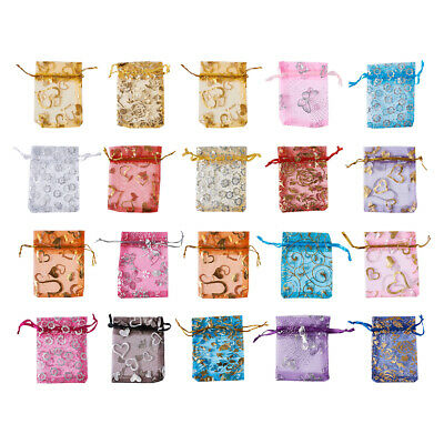 200x Drawstring Star Moon Organza Jewelry Gift Wedding Pouch Bags Mixed Color