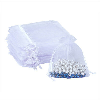 100pcs Organza Bag Drawstring Candy Jewelry Packing Pouch Bags Mini Gift White