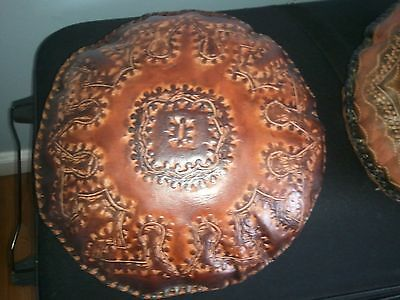 Hand Carved Leather Pillows - set of four