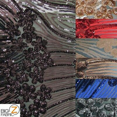 "COSMIC FLORAL SEQUINS MESH FABRIC - 8 Colors - 54""/56"" BY THE YARD DRESS GOWNS"