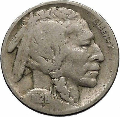 1926 BUFFALO NICKEL 5 Cents of United States of America USA Antique Coin i43678