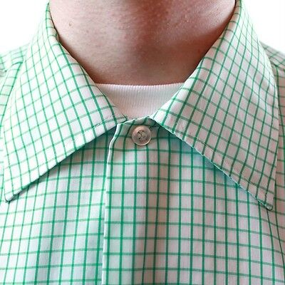 Vintage 70s Mens Green White Checkered Shirt M 15 - 15.5 Short Sleeve Cotton