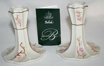 BELLEEK IRELAND 2001 Hand Crafted Cream Pink -Thorn- Candlesticks Set/2 NIB #928