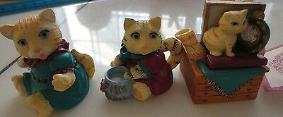 OLD 1995 IOWA TEA SET MINI CATS KITTIES IN THE MIRROR NEW AND CUTE SET
