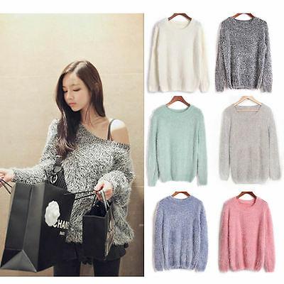 Women Long Sleeve Round Neck Sweater Knitted Top Pullover Jumper Knitwear