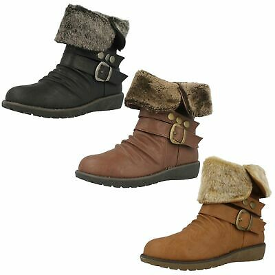Ladies F50274  synthetic ankle boot faux fur cuff by Spot On £15.00