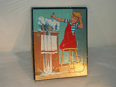 """Rare Vintage """"Dennis the Menace"""" frame-tray hard cardboard puzzle from 1961"""