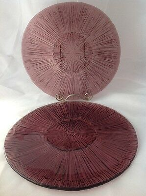 "2 Amethyst Glass Flower or Sunburst Plates 10.5"" Help with ID?"