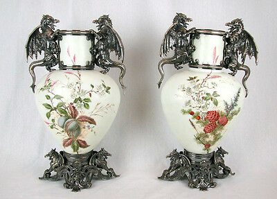 """A PAIR of 17"""" VICTORIAN OPALINE GLASS VASES w. SILVER-PLATE FITTINGS, c. 1860-80"""