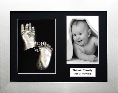 3D Baby Casting Kit imprint impression foot cast Silver Unique Christening Gift