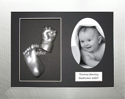 New Baby Casting Set hand and foot 3D cast kit & Silver Photo Picture Box Frame