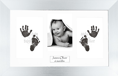 New Baby Gift Hand Footprint Impression Imprint Kit Silver Frame Inkless Set