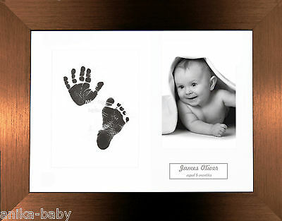 Unique New Birth Baby Keepsake Gift Hand & Foot Prints Kit Brushed Bronze Frame