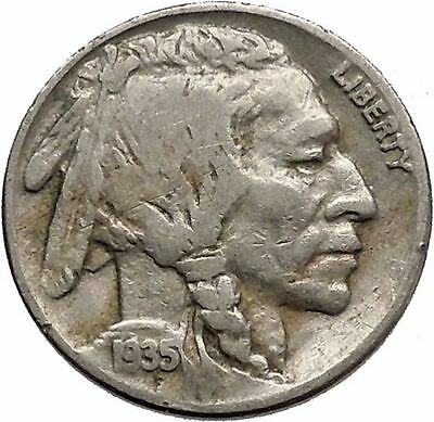 1935 BUFFALO NICKEL 5 Cents of United States of America USA Antique Coin i43777