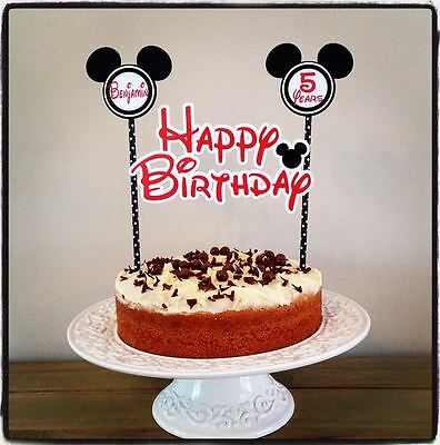 PERSONALISED MICKEY MOUSE CAKE BUNTING Banner Topper Decoration Birthday Party