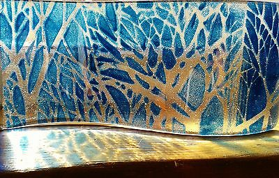Free standing fused glass candle shield by Sandra Kerr