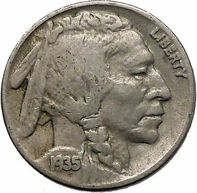 1935 BUFFALO NICKEL 5 Cents of United States of America USA Antique Coin i43785