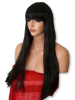 Women long real natural straight costume cheap adult Dark Brown Ladies Wig N2