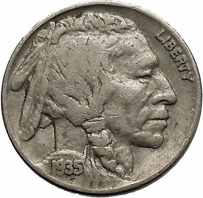 1935 BUFFALO NICKEL 5 Cents of United States of America USA Antique Coin i43799