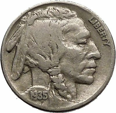 1935 BUFFALO NICKEL 5 Cents of United States of America USA Antique Coin i43800