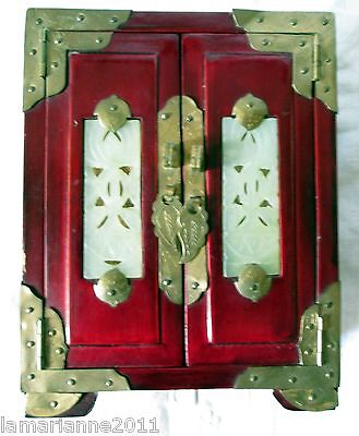 Boite A  Bijoux  Cabinet Chinois Bois Laque Orne Jade Jewel Box Chinese